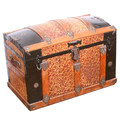 Metal-Clad Cedar Lined Dome Top Steamer Trunk, Late 19th/Early 20th Century