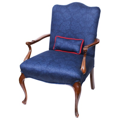 Louis XV Style Fruitwood-Stained Fauteuil, Mid to Late 20th Century