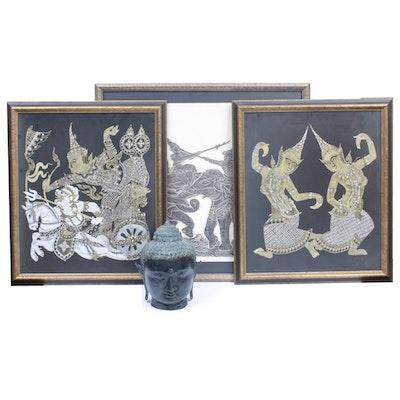Thai Decorative Art and Metal Buddha Figure