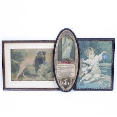 Framed Art and Chromolithographs with City Scapes, Bridal and Hunting Scenes