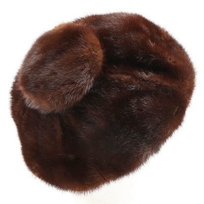 Irene of New York Mahogany Mink Fur Cap with Black Velvet Band, Mid-20th Century