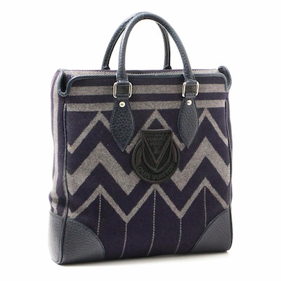 Louis Vuitton Cabas Veil Blanket Tote Bag with Navy Pebbled Leather
