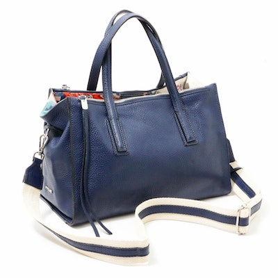 Innue Italian Blue Pebbled Leather Satchel Bag with Canvas Shoulder Strap
