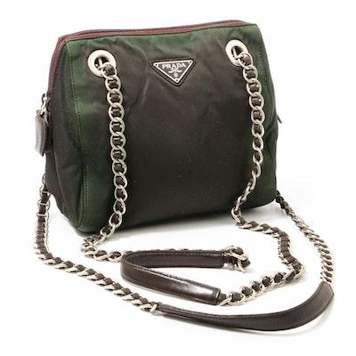 Prada Ebano Tessuto Acciaio Nylon Chain Strap Shoulder Bag