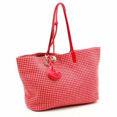 Furla Red and White Herringbone Cotton Woven Bag with Leather Straps