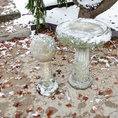 Stone Bird Bath and Outdoor Garden Statue