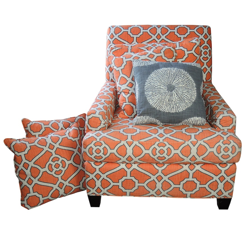 CR Laine Upholstered Armchair with Accent Pillows