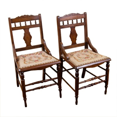 Pair of Late Victorian Walnut Side Chairs / Needlepoint Upholstery, circa 1920