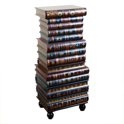 Six-Drawer Storage Chest Made of Faux Stacked Books