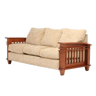 """Schweiger """"Amish McCoy"""" Mission Style Oak Upholstered Sofa, Late 20th Century"""
