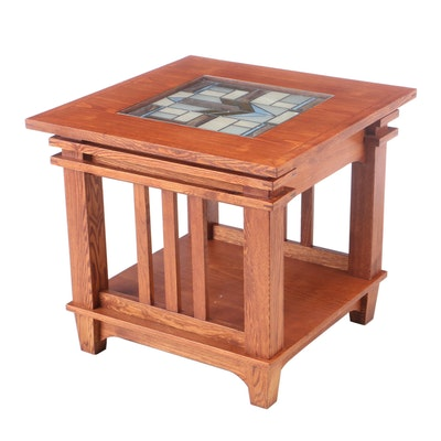 Mission Style Oak Side Table with Slag Glass Inlay, Late 20th Century