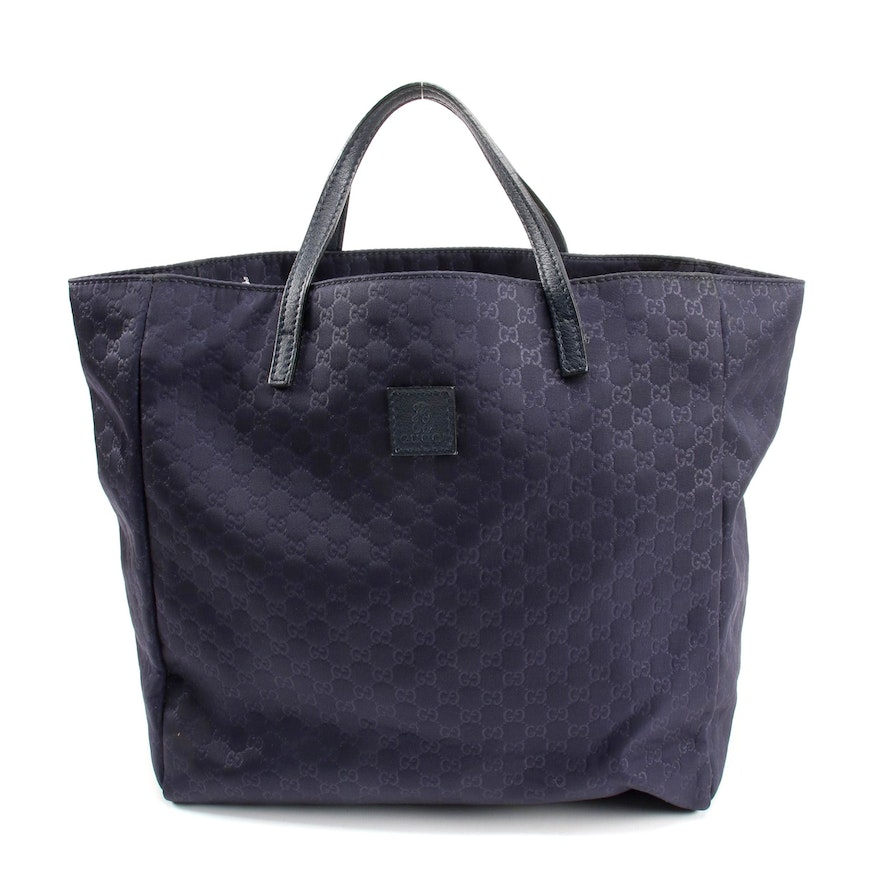 Gucci Children's Teddy Bear Mini Tote in Navy Blue MicroGuccissima Fabric
