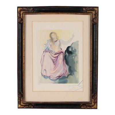"Salvador Dalí Wood Engraving ""Heaven Canto 4: Béatrice"""