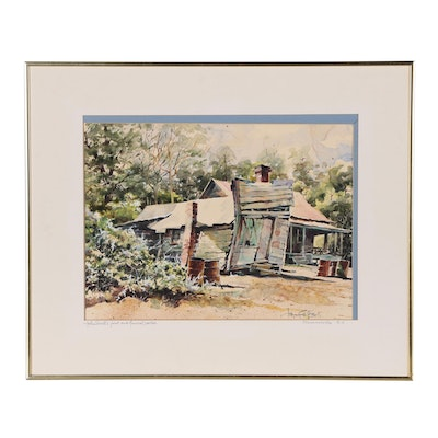 """Josie van Gent Edell Watercolor Painting """"John Small's Joint and Funeral Parlor"""""""