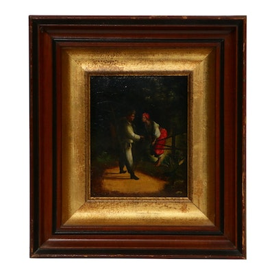 Oil Painting of Traveler and Woman, Late 19th to Early 20th Century