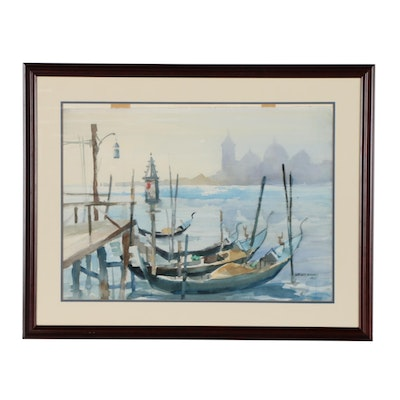 Sanford Brooks Harbor Scene Watercolor Painting