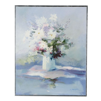 Floral Oil Painting, Late 20th Century