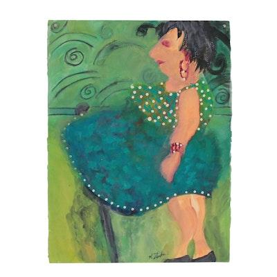 Kathleen Zimbicki Mixed Media Painting of Female Figure