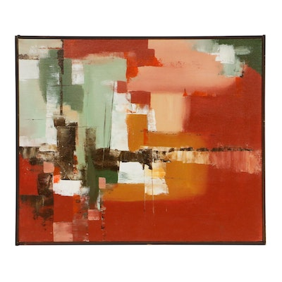 "Kenneth J. Seege Abstract Oil Painting ""Futurd,"" Late 20th Century"