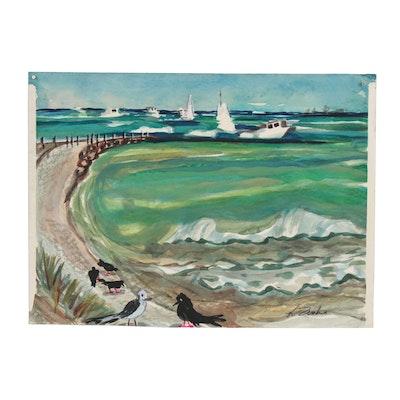 Kathleen Zimbicki Mixed Media Painting of Coastal Seascape