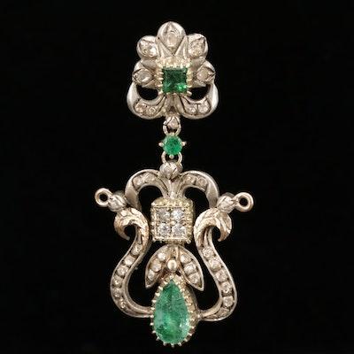 Georgian Style 14K Yellow Gold and 800 Silver Beryl, Emerald and Diamond Pendant
