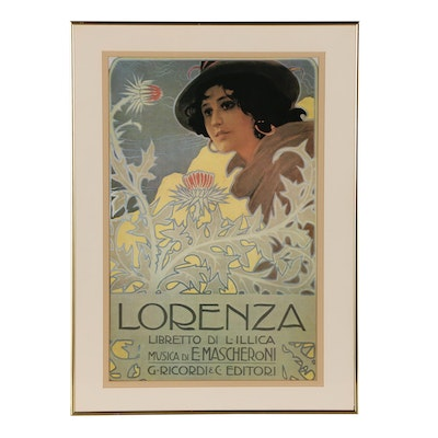 Art Nouveau Offset Lithograph Mascheroni Opera Poster, designed for Ricordi