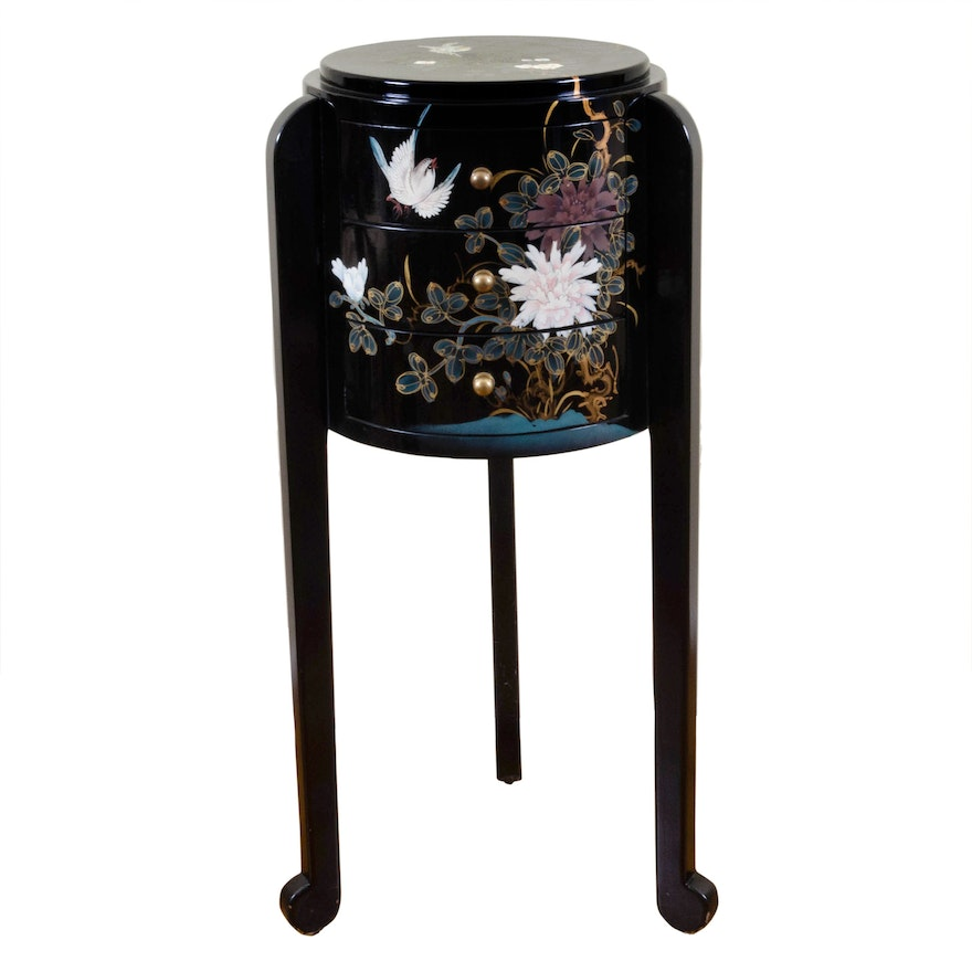 Chinese Black Lacquered Chest with Hand-Painted Bird and Floral Motif