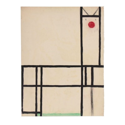 W. Glen Davis Geometric Abstract Ink and Pastel Painting