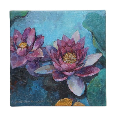 Alexandra Zecevic Acrylic Painting of Water Lilies, 2013