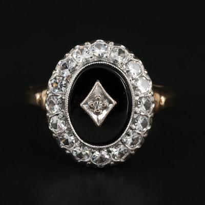 Vintage 10K Yellow Gold, Diamond, Black Onyx Ring with Topaz Halo