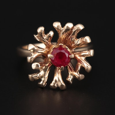 Vintage 10K Yellow Gold Ruby Biomorphic Ring