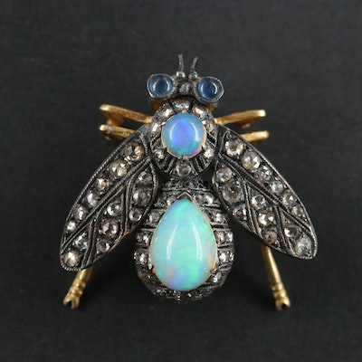 Sterling Silver Opal, Sapphire and Diamond Articulating Fly Brooch