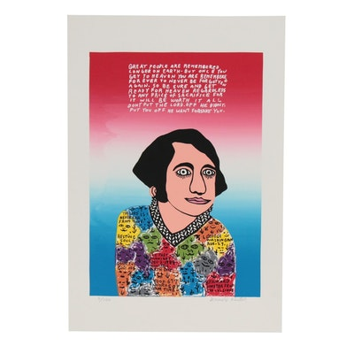 "Howard Finster Serigraph ""Young George"""