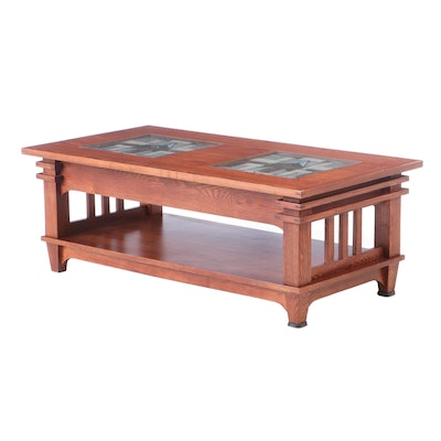 Mission Style Oak Coffee Table with Slag Glass Inlay, Late 20th Century