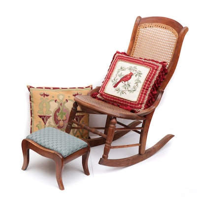 Victorian Walnut Caned Rocking Chair and Footstool, Late 19th Century