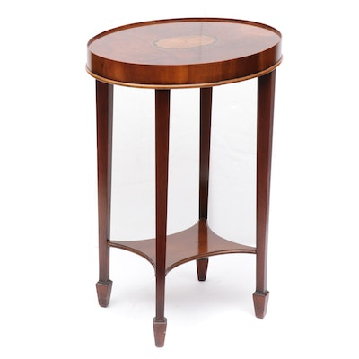 """Hekman """"Copley Place,"""" Federal Style Mahogany Marquetry End Table, Late 20th C."""
