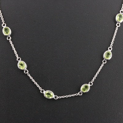 Sterling Silver Peridot Station Necklace