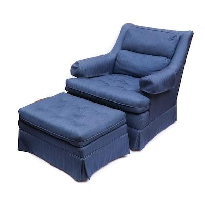 Michael Thomas Herringbone Pattern Upholstered Armchair with Ottoman