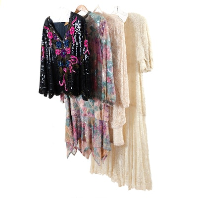 Laurence Kazar, Scala and Other Silk and Rayon Beaded Cocktail Dresses and Top