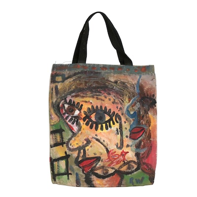 Robert Wright Abstract Acrylic Painting on Canvas Bag