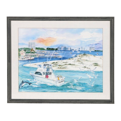 Judy Shillingburg Offset Lithograph of a Harbor