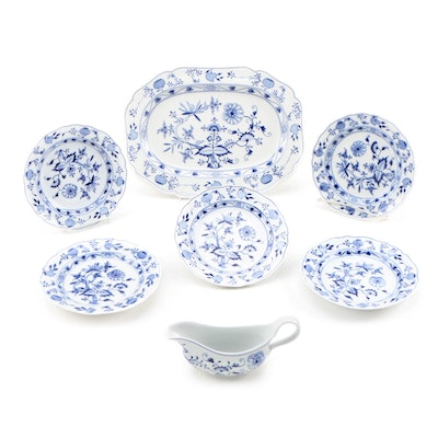 "Meissen ""Blue Onion"" Porcelain Salad Plates, Platter, and Sauce Boat"