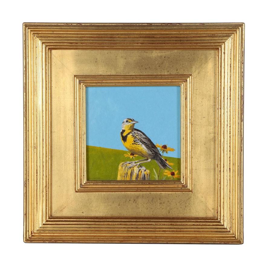 Mark Eberhard Oil Painting of a Western Meadowlark