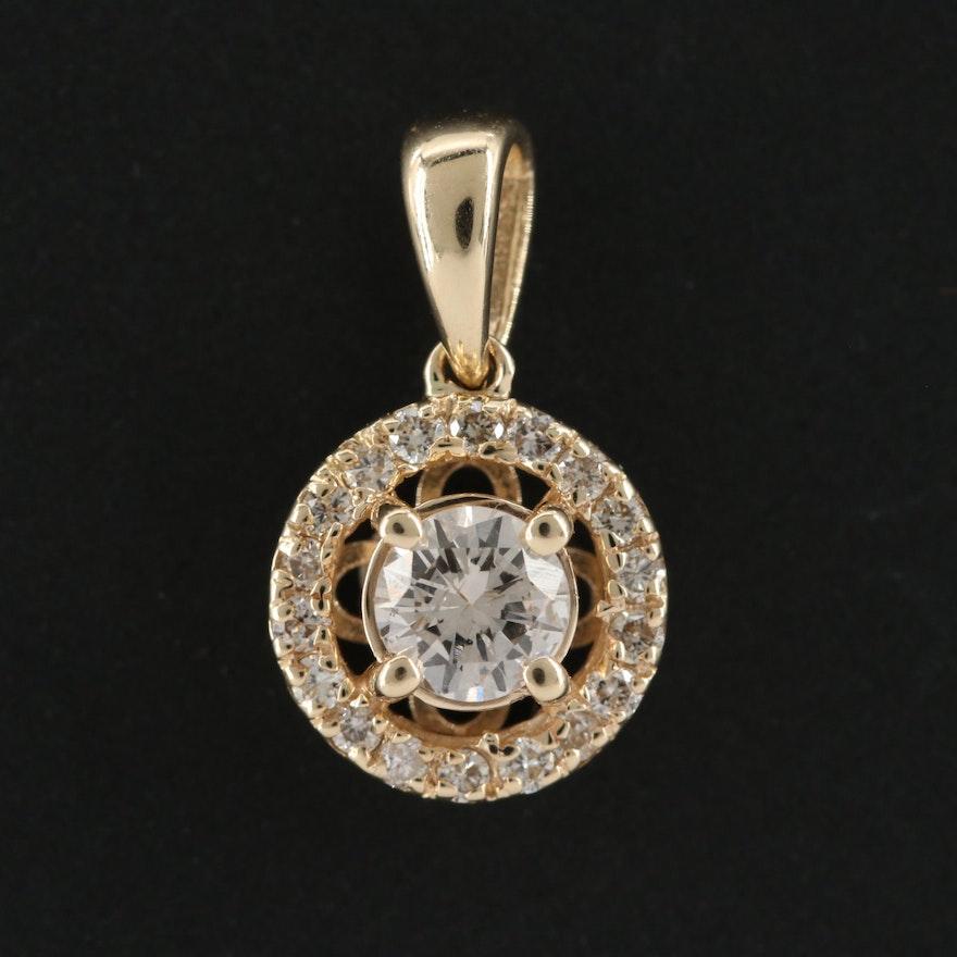 14K Yellow Gold Circular Diamond Slide Pendant