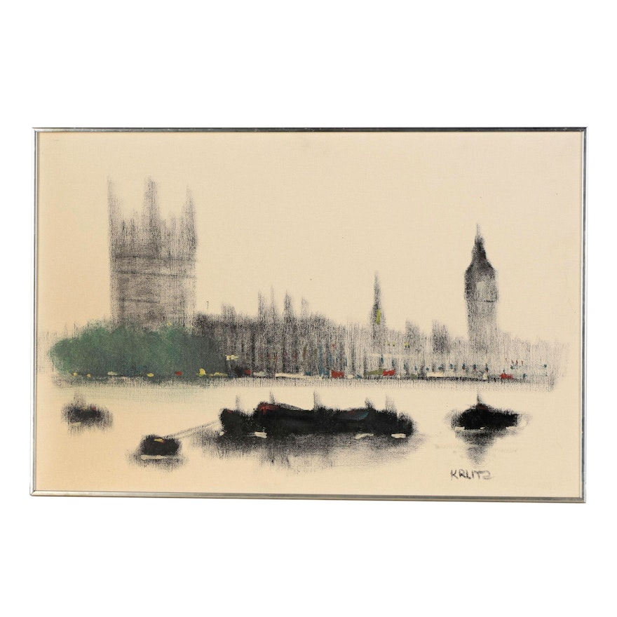 Anthony Klitz Oil Painting: Palace of Westminster, Mid to Late 20th Century