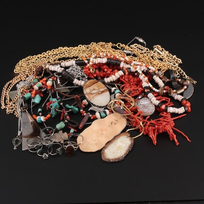 Assortment of Necklaces, Rings and Bracelets with Horn, Coral and Antler