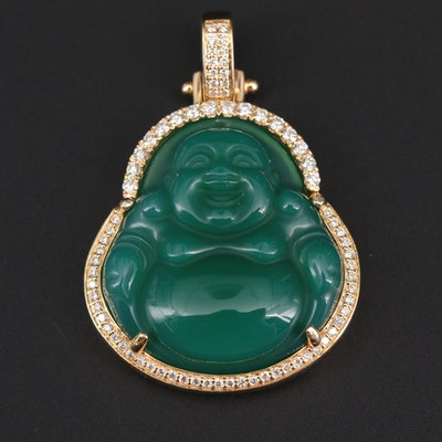 14K Yellow Gold Carved Chalcedony and Diamond Budai Pendant