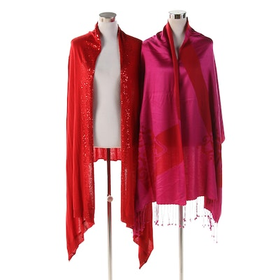 DKNY and Metropolitan Museum Cashmere Silk Open Front Shawl Duster and Wrap