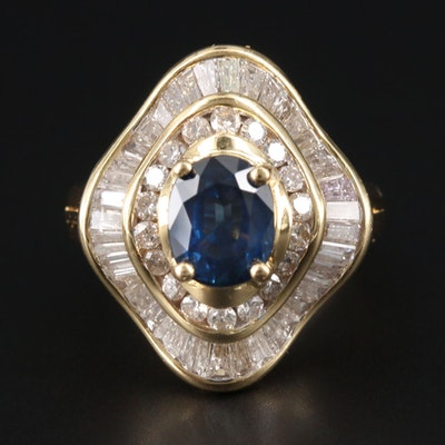 18K Yellow Gold Blue Sapphire and 1.70 CTW Diamond Ring