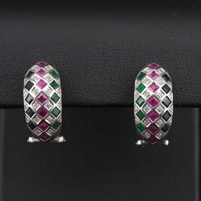 14K White Gold Earrings with Emerald, Ruby, Sapphire and Diamond